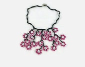 Crochet Necklace Boho Chic, Turkish Oya and Glass Beads, Flower Crochet Dangling Pendant, Spring and Summer Pink Statement Necklace, Gift Fo