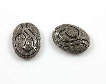Diamond Covered Snake Art Pave Bead,1 Piece 15x20mm, Designer Pave Diamond, Pave Diamond Jewelry, Sterling Silver Pave Bead(DF/BD9)