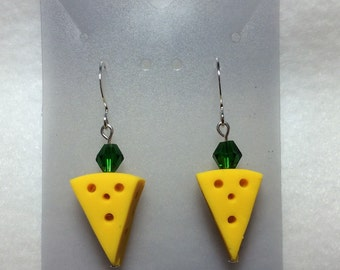 Green Bay Packer Jewelry - Cheesehead Earrings w/green crystal