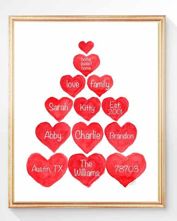 Custom Family Tree Print, 8x10, Christmas Family