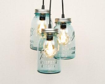 Mason Jar Chandelier - 3 Vintage Quart Jars (Aqua)