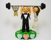 Weight lifting custom wedding cake topper with the dog