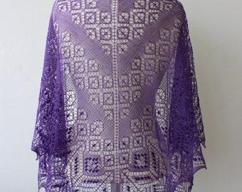 Deep violet lace shawl, hand knitted Estonian lace shawl, 1 Ply Cobweb Lace, triangular purple wedding shawl, merino wrap, hand knit stole