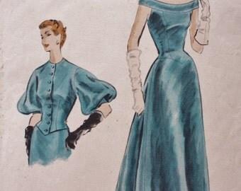1950s Vintage Vogue 770 COUTURIER Drop Shoulder Gown Fitted Jacket Lantern Sleeves Pattern