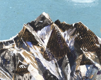 Lhotse mountatain Illustration art Print A3 size (11.69 in x 16.54 in)