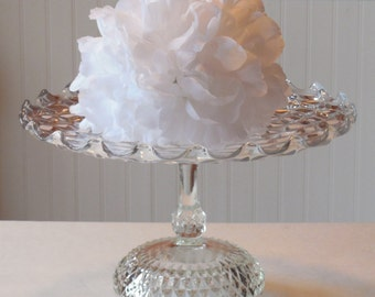 "14"" Cake Stand / Clear Glass Cake Stand / Wedding Cake Stand / Vintage Cake Stand / Dessert Stand"