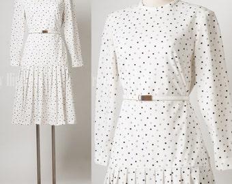 Mod Dress, Vintage Dress, Vintage white dress, polka dot dress - M/L