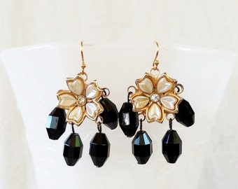 Gold and Black Flower Rhinestone Upcycled Earrings. Treasure Box