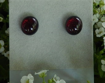 GARNET DICHROIC STUDS  Fused Glass Stud Post Earrings