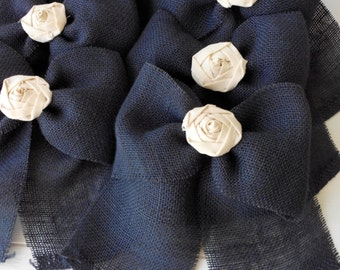 Burlap Bow NAVY BLUE Rustic Wedding Fabric Rose Set of 10 Pew Bows   Aisle Decor on chairs or bench