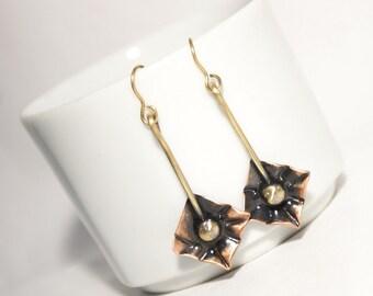 Copper Earrings, Dangle Earrings, Copper Jewelry, Boho Earrings, Mixed Metal Copper And Brass Earrings, Metalwork Jewelry Gift For Her