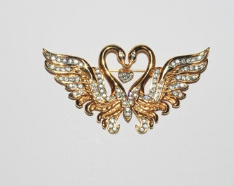 Nolan Miller Swan Brooch - Gold Tone with Crystals             - S1169