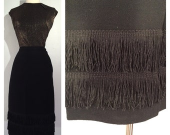 1950s Fitted Black Pencil Skirt with Fringe Details -- Classic Silhouette with some Shimmy