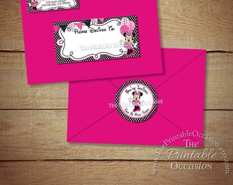 Minnie Mouse Address Labels and Envelope Seal, Pink Minnie Envelope Labels, Pink Minnie Mouse Birthday Invitation Envelope Address Labels