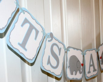 It's a Boy Elephant Banner in Light Blue and Grey - MADE TO ORDER