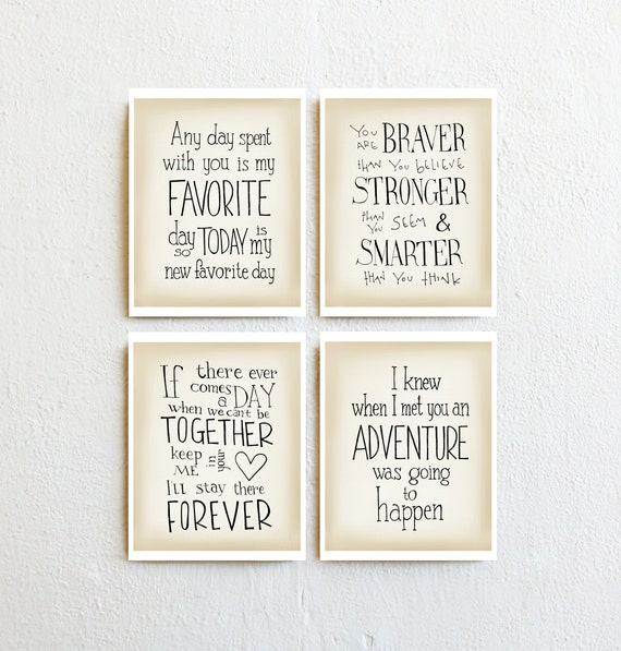winnie puuh print 4 zitate wand kunst baby m dchen. Black Bedroom Furniture Sets. Home Design Ideas