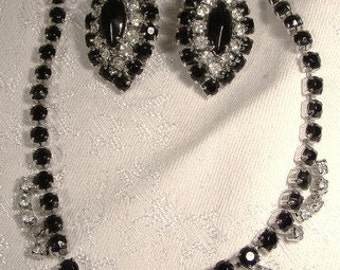 Black and White Rhinestones Necklace & Earrings Set 1950s
