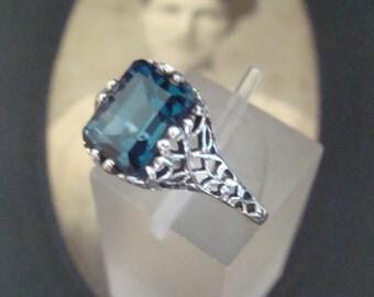 Sweet Sterling Filigree London Blue Topaz Ring Size 5 1/2 Antique design