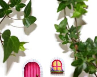 Miniature Decal Pink Cottage Fairy Door & Window Stickers