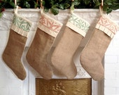 Rustic Burlap Christmas Stocking, Personalize w/ Tag, Cotton Stocking, Rustic Holiday Decor, Cottage Chic Christmas Decor, Holiday Stocking
