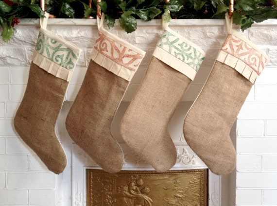 Rustic Burlap Christmas Stocking Personalize w/ Tag Cotton