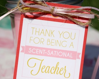 Teacher Candle Gift Tags - Instant Printable Download