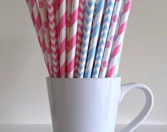 Pink and Blue Paper Straws Gender Reveal Party Supplies Baby Shower Party Decor Bar Cart Cake Pop Sticks Mason Jar Straws Graduation