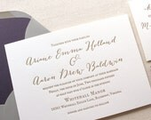 The Wildflower Suite - Modern Letterpress Wedding Invitation Suite, Purple, Gold, Grey, Liner, Calligraphy, Script, Rustic, Simple, Classic