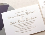 The Wildflower Suite - Modern Letterpress Wedding Invitation Sample, Purple, Gold, Grey, Liner, Calligraphy, Script, Rustic, Simple, Classic