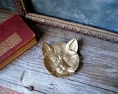 Vintage Solid Brass Cat Trinket Dish / Vintage Brass Cat Face Small Footed Dish / Brass Cat Paperweight