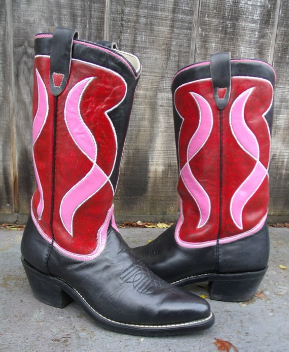 Elegant Hand Painted Red Hot Zebra Cowboy Boots Women39s By TexasBootlegger