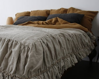 LINEN COVERLET with two ruffles. Linen bedspread dust ruffle. Washed  and softened. Made by MOOshop.*9