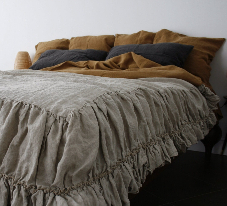 linen coverlet with two ruffles. linen bedspread dust ruffle.