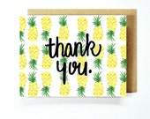 Thank You Card - Pineapple Card Sets, paper goods, wedding, just because, food pun, summer time, greeting card, hand painted, hand lettered
