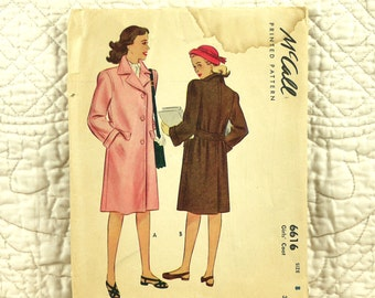 Girls Coat, M, Cut Complete, McCalls 6616 Pattern, Front Buttons, Notched Collar, Back Belt, Knee Length, 1948, Size 8