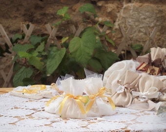 Greek Baptism bomboniere with martyrika or witness pins- 10 bonbonniere white linen bag yellow satin ribbon