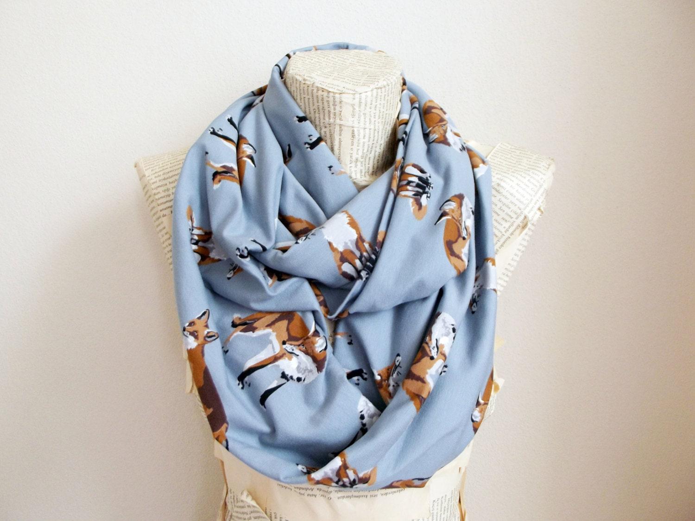 fox scarf gray infinity cotton jersey scarf fox scarf by