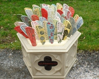 Garden markers, plant marker, set of 5 MEDIUM herb markers Weatherproof Stoneware high Fire Glaze