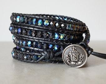 Boho wrap bracelet/ Rocker Czech charcoal black AB glass 5 wrapped/  Bohemian leather ladder yoga bracelet