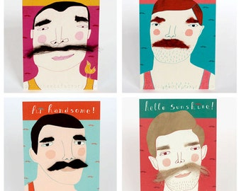 moustache postcard set - with 'real' moustaches - special greeting card set - Macho postcards - original present - moustaches - handmade