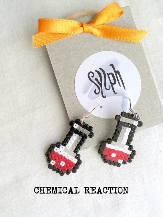 Red pixelated Chemical Reaction earrings in 8bit retro style, perfect gift for a biologist, chemist or labrat