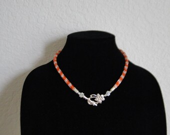 Viking Knit Necklace Flowers Orange Silver Fun  Flower clasp