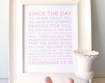 Colossians 1:9-10 Girl Nursery Bible Verse Art, Nursery Decor, Nursery Art, Bible Verse Nursery Print