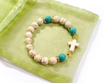 Howlite White Blue Turquoise Rosary Bracelet