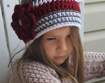 Crochet Girl Hat, Baby Hat, Women Hat, Girl Flower Beanie, Baby Beanie, Kids Hat,  Montana, Griz, Adult, Baby Photo Prop. Accessorie