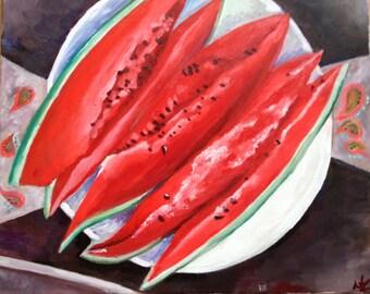 "Watermelon still life original painting (oil on canvas, 60x40 cm) - ""Summer Heat"" by Masha Zurikova"