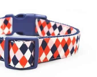 Red Navy Dog Collar Diamond Geometric Dog Collar - Cole