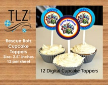 Rescue Bots Cupcake Toppers -  Instant Download Printable Digital File