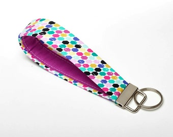 Purple Keychain, Womens Key Fob, Lanyard for Keys - Bold Tessellations - Purple Gifts