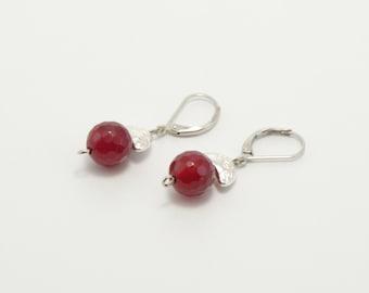 Agate earrings, stone earrings, beaded earrings, magenta agate earrings, magenta agate, agate jewelry, stone jewelry, beaded jewelry